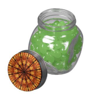 Sword of Passions Mandala, Abstract Orange Black Glass Jars