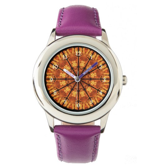Sword of Passions Mandala, Abstract Orange Black Wristwatch