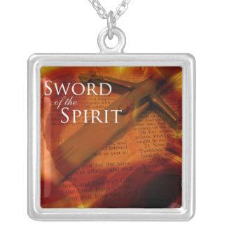 Sword of the Spirit Square Pendant Necklace