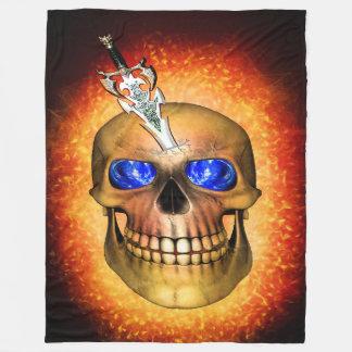 Sword pierced skull fleece blanket