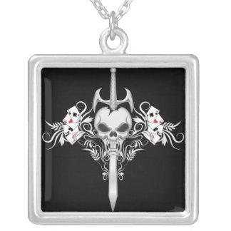 Sword Skull - Black Square Pendant Necklace