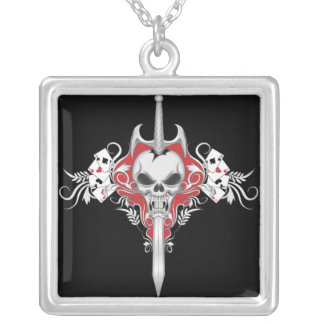 Sword Skull - Red Square Pendant Necklace