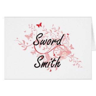 Sword Smith Artistic Job Design with Butterflies Card