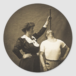 Sword Swallower and  Wife Vintage Sideshow Freaks Classic Round Sticker