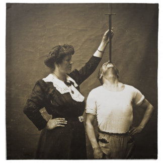 Sword Swallower and  Wife Vintage Sideshow Freaks Napkin