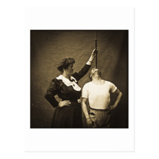 Sword Swallower and  Wife Vintage Sideshow Freaks Postcard
