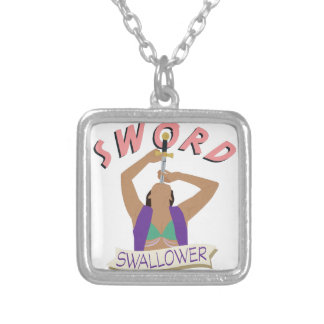 Sword Swallower Silver Plated Necklace
