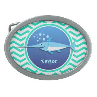 Swordfish; Aqua Green Chevron Oval Belt Buckle