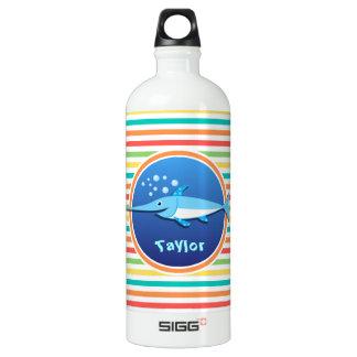 Swordfish; Bright Rainbow Stripes Aluminum Water Bottle