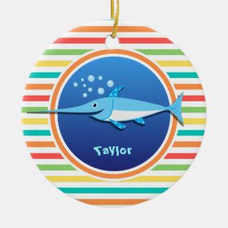 Swordfish; Bright Rainbow Stripes Ceramic Ornament