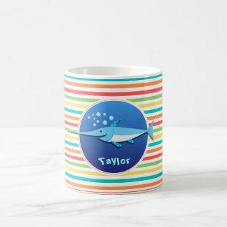 Swordfish; Bright Rainbow Stripes Coffee Mug