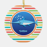 Swordfish; Bright Rainbow Stripes Christmas Ornaments