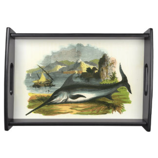 Swordfish Fishing Folkart Artwork Serving Tray