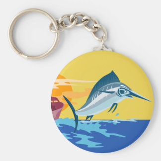 swordfish jumping with fishing boat key chains