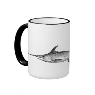 swordfish mug, scientific illustration ringer coffee mug