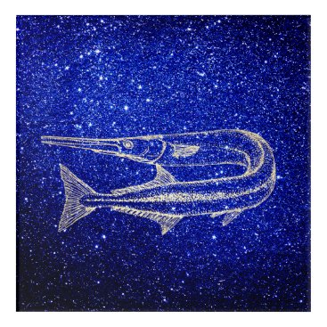 Beach Themed Swordfish Ocean Life Blue Navy Foxier Gold Acrylic Wall Art