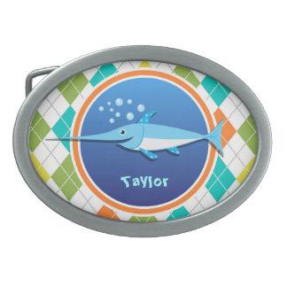 Swordfish on Colorful Argyle Pattern Belt Buckle