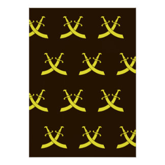 Swords Brown Yellow Posters