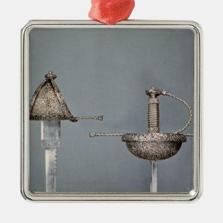 Swords: cup-hilted rapier of chiselled steel metal ornament