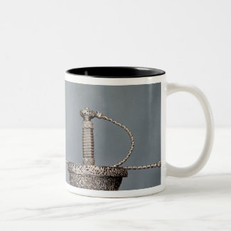 Swords: cup-hilted rapier of chiselled steel Two-Tone coffee mug