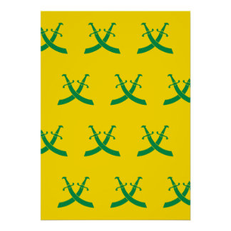 Swords Greens and Yellows Print