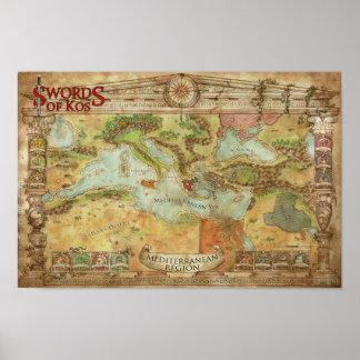 Swords of Kos: Mediterranean Campaign Map Poster