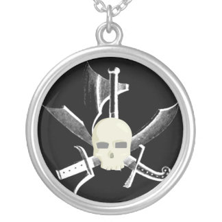 SWORDS SKULL AND AXE PRINT ROUND PENDANT NECKLACE