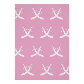 Swords White Pink Posters