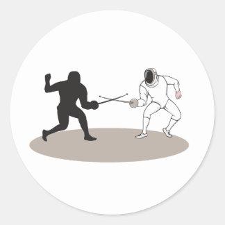 Swordsmen Fencing Isolated Cartoon Classic Round Sticker