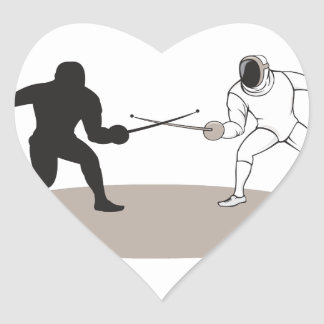 Swordsmen Fencing Isolated Cartoon Heart Sticker