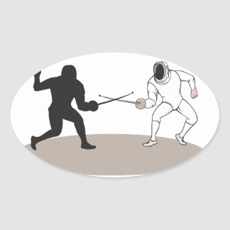 Swordsmen Fencing Isolated Cartoon Oval Sticker