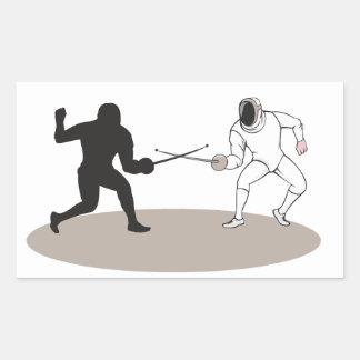 Swordsmen Fencing Isolated Cartoon Rectangular Sticker