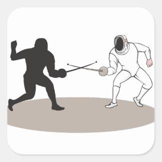 Swordsmen Fencing Isolated Cartoon Square Sticker