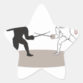 Swordsmen Fencing Isolated Cartoon Star Sticker