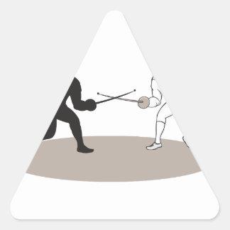 Swordsmen Fencing Isolated Cartoon Triangle Sticker