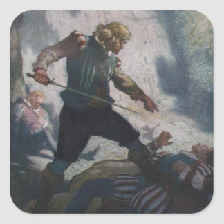 Swordsmen on a Cliff Square Sticker