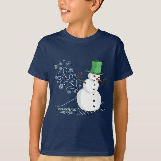 Swowman farts Snowflakes Cartoon T-Shirt