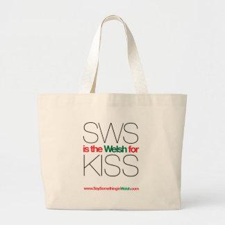¡SWS es el Galés para el beso! Bolsa Tela Grande