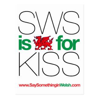 ¡SWS es el Galés para el beso! Tarjetas Postales
