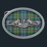 "SWS Polaris Belt Buckle<br><div class=""desc"">Submarine Warfare Specialist badge over a Polaris style Tartan</div>"