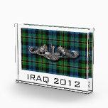"""SWS Polaris Tartan narrow Acrylic Award<br><div class=""""desc"""">Submarine Warfare Specialist badge over a Polaris style Tartan</div>"""