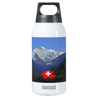 Swtzerland Jungfrau and flag Insulated Water Bottle