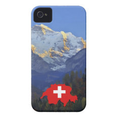 Swtzerland Jungfrau And Flag Iphone 4 Cover at Zazzle