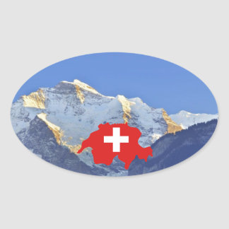 Swtzerland Jungfrau and flag Oval Sticker