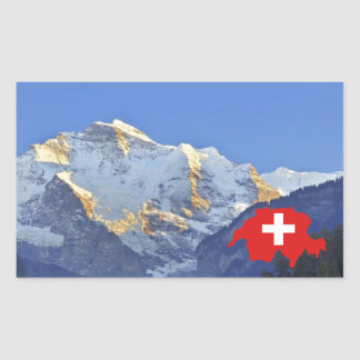 Swtzerland Jungfrau and flag Rectangular Sticker