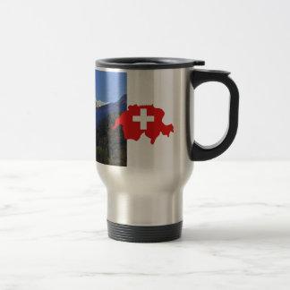 Swtzerland Jungfrau and flag Travel Mug