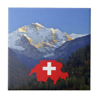 Swtzerland Jungfrau y bandera Azulejo Cuadrado Pequeño