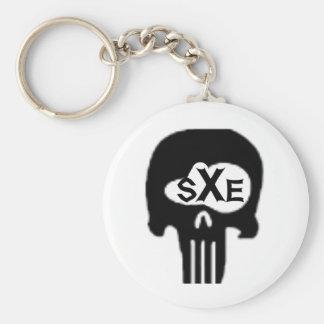 sXe Skull Basic Round Button Keychain