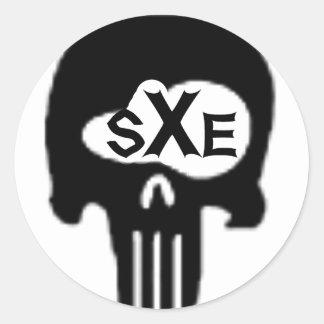 sXe Skull Classic Round Sticker