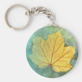 Sycamore Maple Autumn Leaf Basic Round Button Keychain